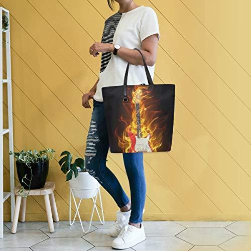 GIGIJY Kreative Flammen E-Gitarre Handtasche groß für Damen Schultertasche Einkaufstasche Organizer Taschen für Frauen mit Griff oben