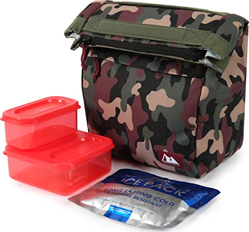 Arctic Zone Kids Classics Lunch Sack with 210g Ice Pack and 4 Piece Kids Sandwich Set - Camo