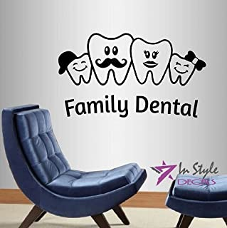 In-Style Decals Wall Vinyl Decal Home Decor Art Sticker Family Dental Sign Teeth Clinic Hospital Office Room Removable Stylish Mural Unique Design 2151