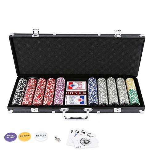 BMOT Pokerkoffer 500 Chips Laser Pokerchips Poker 11.5 Gramm , 2 Karten, Händler, Small Blind, Big Blind Tasten und 5 Würfel, mit Aluminium-Gehäuse Schwarz Koffer
