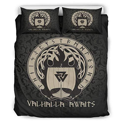 Twelve constellations Viking Valhalla - Edredón ligero para todo el año - Juego de funda de edredón de 3 piezas para dormitorio infantil (229 x 229 cm), color blanco