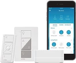 Lutron Caseta Wireless Smart Lighting Lamp Dimmer Switch Starter Kit, P-BDG-PKG1P, White
