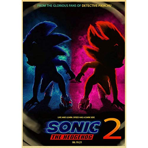 shuimanjinshan Movie Sonic the Hedgehog Retro Poster Prints Clear Image Room Bar Home Art Painting Wall Stickers 40x60cm No Frame HZ-1213
