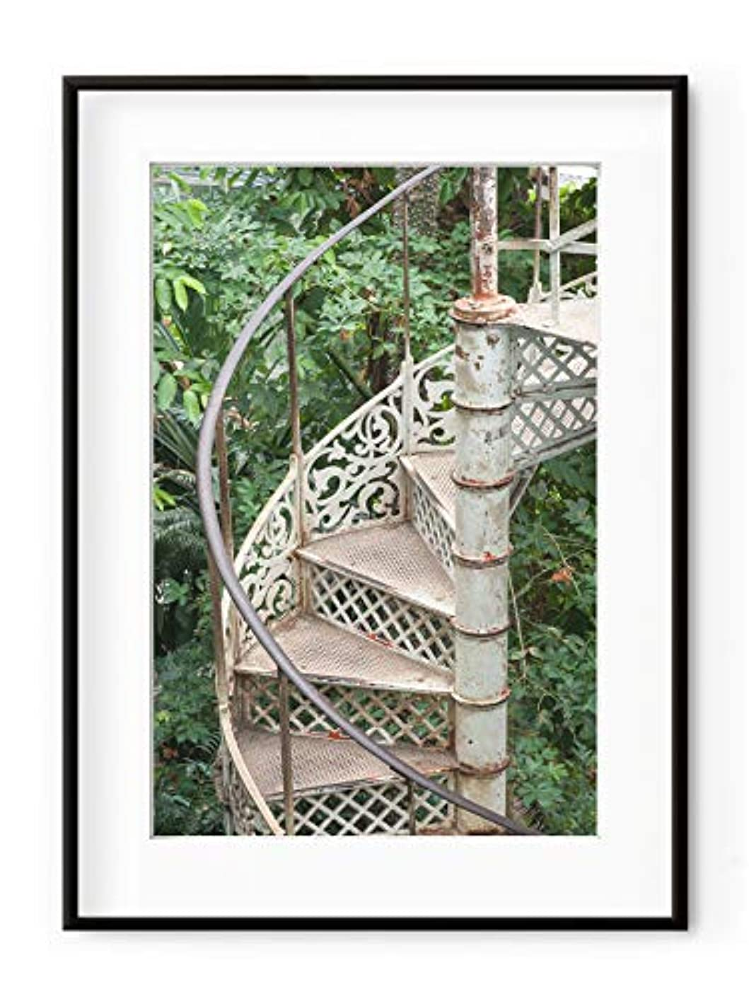 Greenhouse Staircase, White Varnished Wood Frame, with Mount, Multicolored, 50x70