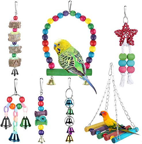 Zacro 7 pcs Bird Swing Toys - Parrot Colorful Chewing Toys, Hanging Bell Birds Cage with Bells Finch Toys for Small and Medium Bird, Peony, Parrot,Myna,Golden Sun,Macaws,