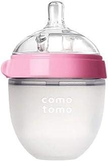 Comotomo Natural Feel Set - Single Pack Pink 5 oz Baby Bottle, PLUS Extra Pack Medium Flow Nipples