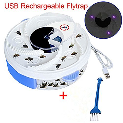 Yefun Autumatic Electric UV Lila Licht Fly Trap USB Wiederaufladbare Gerät + Pinsel Werkzeug für Home Hotel Restaurant Office (Blue)