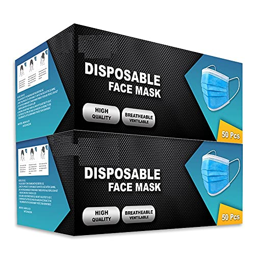 100 pks Disposable Face Masks | 3-Layer Breathable face mask with strong...