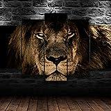 104Tdfc Cuadro en Lienzo 200x100cm 5 Piezas Cuadro sobre Lienzo Cara de león Africano enfadado Tejido no Tejido Impresión en Lienzo Decoracion Pared Regalo Creativo