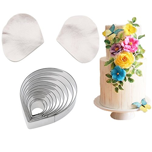 10pcs Gumpaste Rose Flower Cutter Set and 2pcs Fondant Silicone Veining Mold Gumpaste Roses Sugarcraft Fondant Wedding Flower Chocolate Making Tool