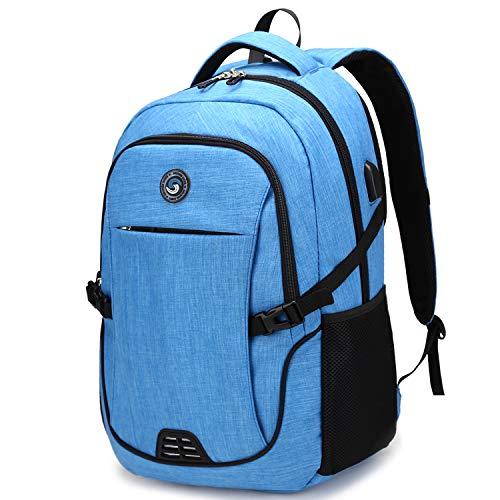 Laptop Backpack,Business Travel Anti Theft Slim Laptops Backpack with USB Charging Port,Durable Water Resistant Computer Bag for Women & Men Fits 15.6 Inch Laptop and Notebook (A-Sky Blue)