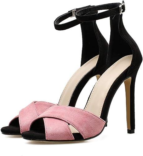 XTQCBQL été Femmes 11.5 cm cm Talons Hauts Boucle Sangle Peep Toe Sandales Femme Rose Chaussures Lady Stiletto Pompes  obtenir la dernière