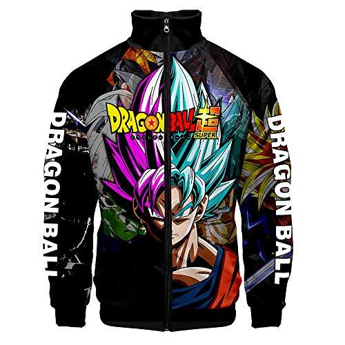 Anime Dragon Ball Goku Sudaderas, Hombres 3D Impreso Cuello Alto Chaqueta con Cremallera Outwear Cosplay Disfraz