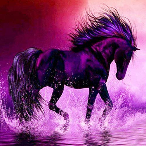 Reofrey Diamond Painting 5D Diamant Peinture Animal Cheval Violet DIY Cristal Strass Peinture Plein Forage Broderie Artisanat Point De Croix Chambre Salon Décoration Murale 40x40cm