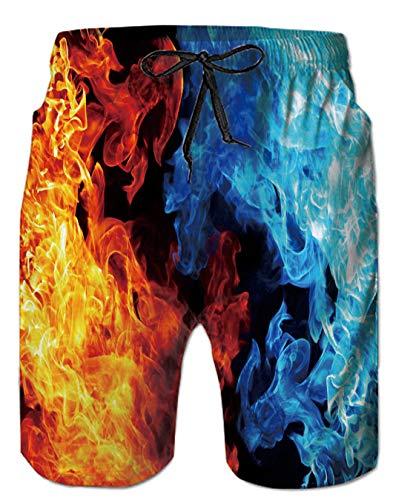 Spreadhoodie Feuer Badehose für Herren Bermuda Lusting Blau Rot 3D Flamme Badeshorts Bunt Grafik Herren Bermuda Kurze Hose Board Shorts M