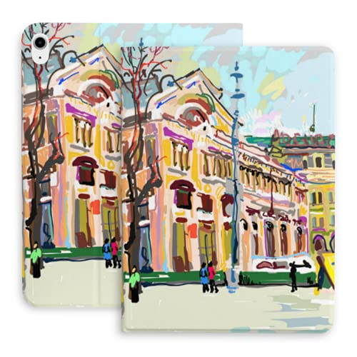 Compatible with Ipad Air 4 10.9 Inch 2020 with Pencil Holder,Plein Air Digital Painting of Cityscape Kiev Vector Case - Protective, Ultra Thin, Magnetic Holder, Sleep (fitsa2316, A1934, A1980, A1979