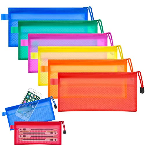 Loazre 12 x Reißverschluss-Beutel, 6 Farben, wasserfest, mit Gittermuster, doppelschichtig, PVC-Kunststoff, für Stifte, Kosmetikzubehör, Reisen.