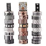 Juego de 27 rollos de cinta adhesiva de papel japonés Washi para decorar manualidades, diseños de libros, ideal para festivales y fiestas