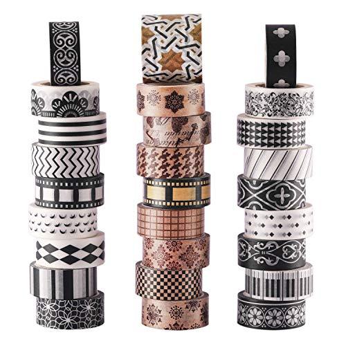 Washi-Masking-Tape-Set, 27 Rollen, klassisches Washi-Tape in Schwarz und Weiß mit dekorativem Design, Washi-Tape für DIY-Bastelarbeiten, Buchdesigns, ideal für Festivals und Party