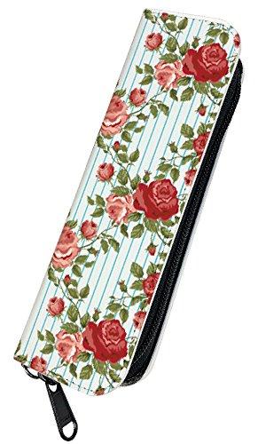 [PLOOMTECH JT-03S] プルームテック 電子タバコ ケース カバー ラウンドファスナー A. 花柄ブルーストライプ バラ ローズ 薔薇 フラワー かわいい 赤 レッド