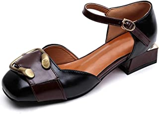 [OceanMap] スクエアトゥ ストラップ チャンキーヒール パンプス レディース 痛くない 歩きやすい 履きやすい オシャレ 滑りにくい 黒 太ヒール ローヒール 黒 サンダル フォーマル 結婚式 脱げない パーティ 幅広 靴