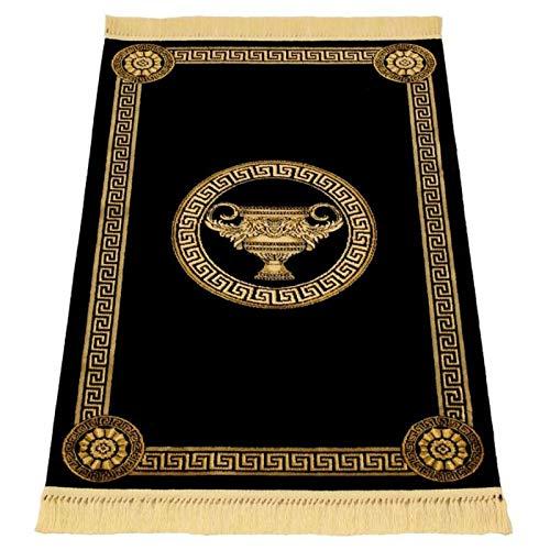 Belle Arti Premium Mäander Teppich aus 100% Viskose im amphore Design Carpet versac in verschiedenen größen & Farben erhältlich (67 x 105 cm, Schwarz)