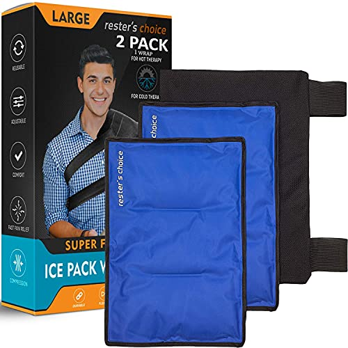 """Rester's Choice Large Ice Packs & Wrap - Use as Hip Ice Pack Wrap, or Cold Pack for Injuries, Shoulder, Knee, Back Pain – Hot & Cold Therapy for Swelling, Surgery - 11x14.5""""   (2 Gel Packs + 1 Wrap)"""