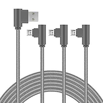 Micro USB Cable 10FT 3 Pack 90 Degree Android Charger Long Nylon Braided Angle Cable Fast Charging for Samsung Kindle HTC LG Xbox PS4 Smartphones & More  Grey