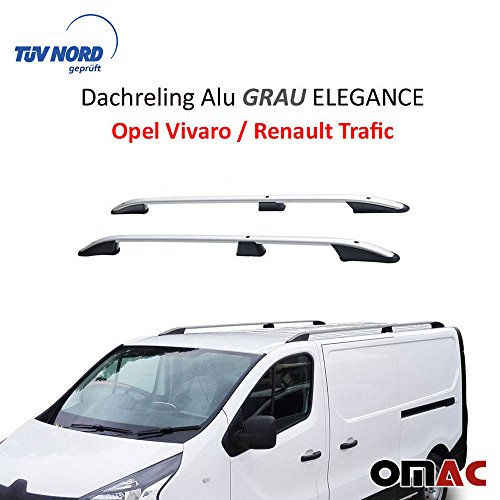 OMAC Aluminium Grau Dachreling Dachgepäckträger für Vivaro 2014-2020 Kurzer Radstand Relingträger Gepäckträger mit TÜV ABE Fahrzeugspezifisch