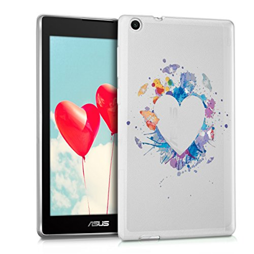 kwmobile Schutzhülle kompatibel mit Asus ZenPad C 7.0 (Z170C / Z170CG) - Hülle Silikon - Tablet Cover Hülle - Herz Kleckse Mehrfarbig Blau Transparent