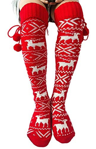 Maorrew Womens Cable Knit Thigh High Socks Xmas Elk Print Over Knee Long Socks Footed Leg Warmers Stockings Red
