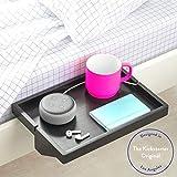 BedShelfie The Original Bedside Shelf - 9 Colors \/ 4 Sizes - The Perfect College Dorm Room Essential (Regular Size, Bamboo in Black)