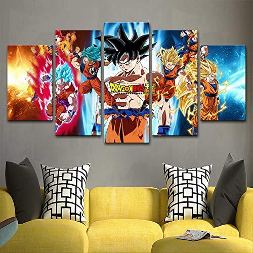 Canvas schilderij woondecoratie 5 anime draak Z bal Goku poster print retro foto modulaire woonkamer kunst aan de muur