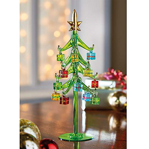 Coopers of Stortford Christmas Xmas Glass Present Tree Ornament Decoration H26cm