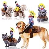 Dong Ran Haustier Kostüm Riding Horse Pet Outfit, lustige Cowboy Reiter Stil Kleidung mit Puppe und...