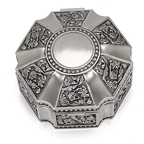 Contenitore di monili antico dei fiori metallici, fiore della corona di disegno dei monili intagliati Oggetto d'antiquariato di trucco di principessa di stile antico per l'anello di immagazzinaggio Re