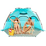 porayhut Easy Up Folding Beach Tent,3-4 Person Sun Shelter for Family and Sports Events,SPF 50+,Large Ventilation Windows and Storage Pockets