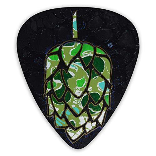 Púas de guitarra Green Hops, púas de guitarra de 12 piezas para guitarra eléctrica y bajo, diferentes tamaños contienen fino, medio, grueso