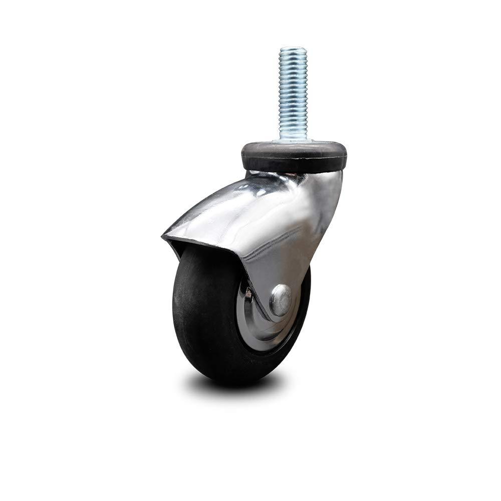 Service Oklahoma City Mall Caster - Bright Chrome New item Hooded Inch Rub Swivel Neoprene 3