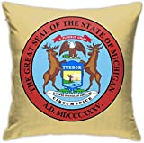 HOJJP Official Seal of Michigan Square Throw Pillow Covers Set Cushion Cases Pillowcases for Sofa Bedroom Car 18 X 18 Inch