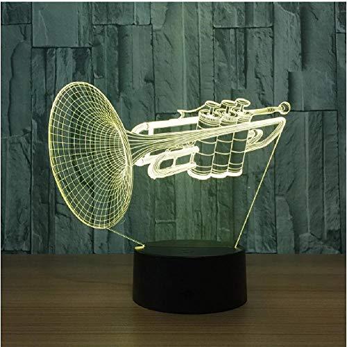 Instrumento trompeta 3D Led luz nocturna 7 colores cambiantes lámpara de mesa de escritorio instrumentos musicales artículos de decoración decoración del hogar