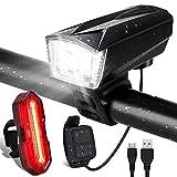 Gobikey Luci per Bicicletta, Luci Bicicletta con Comando Remoto e Clacson, Super Luminoso 3+5 modalità di Illuminazione USB Ricaricabile Impermeabile IP65 Luci per Bici Strada, Sicurezza per Notte