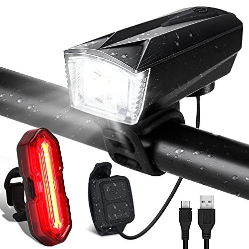 Luces Bicicleta Delantera y Trasera Linterna Bicicleta Recargable USB, 5+6 Modes con IP65 Resistente, Giratoria 360 ° Bocina y Luz para Carretera y Montaña, Control Remoto