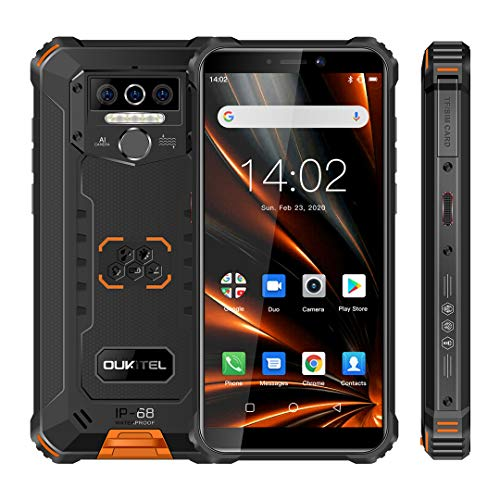 OUKITEL WP5 Pro Android 10.0, 4 GB RAM + 64 GB ROM, 8000 mAh großer Akku Outdoor Smartphone, 5,5 Zoll Display, stoßfestes IP68 Militär Mobiltelefon, Dreifachkamera, 4 LED Torch/Dual SIM/OTG/GPS