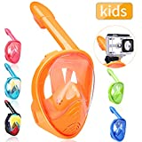 QingSong Kids Full Face Snorkel Mask, Snorkeling Mask with Detachable Camera Mount, 180 Degree Panoramic View Snorkel Set Anti-Fog Anti-Leak