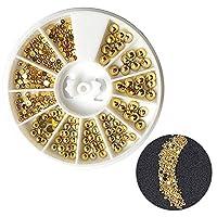 ネイルゴールドメッキ半円形のネイルドリルボックス2-4MM混合シルバーゴールド半円形3DラインストーンDIYネイルアートステッカー装飾