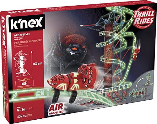 K'nex Thrill Rides Montaña Rusa Web Weaver. Juego de Construcción con Motor. Brilla en la Oscuridad. Knex 399 Piezas 2 Posiciones Fluorescente (Fábrica de Juguetes 41229)