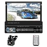 Radio Auto Con Schermo 1 Din Bluetooth Navigazione GPS Europa, ZIJIN 7' Autoradio Schermo a Scomparsa Mp5 HD Mirror Link Memoria Record FM USB Controllo Del Volante + Telecamera Per La Retromarcia