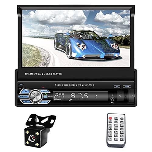 Radio Auto Con Schermo 1 Din Bluetooth Navigazione GPS Europa, ZIJIN 7  Autoradio Schermo a Scomparsa Mp5 HD Mirror Link Memoria Record FM USB Controllo Del Volante + Telecamera Per La Retromarcia