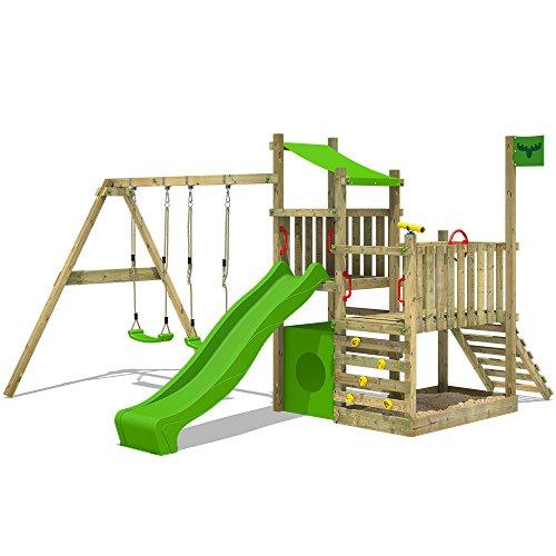 FATMOOSE Spielturm PowerPalm Triple XXL Kletterturm Baumhaus Holz Schaukel Rutsche mit 3 Spielebenen und 2 Schaukelsitzen
